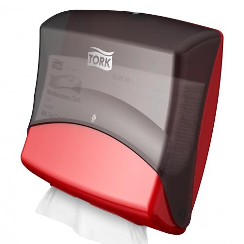 654008 Tork Gevouwen Reinigingsdoek Dispenser Kunststof Zwart/Rood